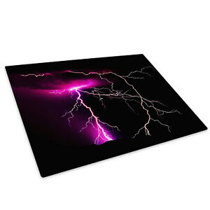 Purple Black Lightning Glass Chopping Board Kitchen Worktop Saver Protector GBP 15.99