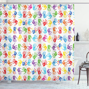 Colorful Shower Curtain Watercolor Kids Print for Bathroom