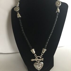Brighton Black Braided Leather Necklace with Heart and Arrow Toggle