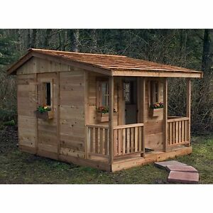 Outdoor Playhouse Cabin Durable Western Red Cedar Windows Flower Boxes and Porch