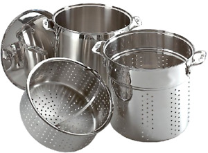 Stainless Steel Dishwasher Safe 12-Quart Multi Cook Cookware Set 3-Piece, Silver