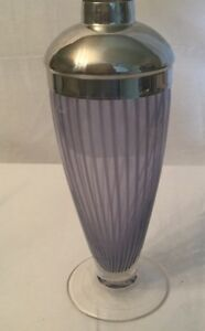 Striped Footed Art Glass Martini Cocktail Shaker Lavender Purple-RARE COLOR