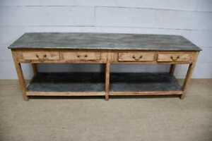 Early 4 Drawer Antique Atelier Work Table Zinc Metal Top