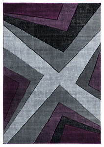Contemporary Abstract Plush Carved Purple Plum Gray Area Rug **FREE SHIPPING** $399.00