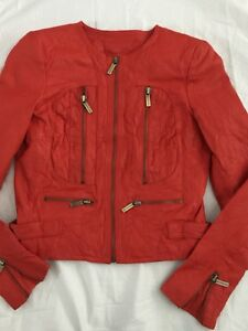 NWT Mk Michael Kors Lamb Cherry Wash Leather Moto Biker Jacket $495 India P O