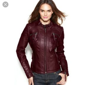 New MICHAEL Michael Kors Soft  Lamb Maroon Leather Moto Biker Jacket $498 S