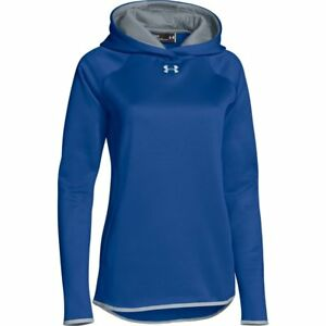 Womens Under Armour Double Threat Hoodie Royal Blue Storm Fleece Pullover NEW