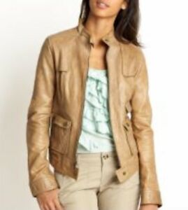 MICHAEL Michael Kors Soft Lamb Bomber Beige Tan Leather Moto Biker Jacket $498 S