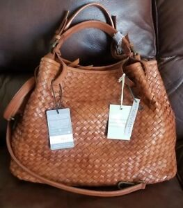 Valentina Designer hand Shoulder Bag Italy  Leather Woven Brown Satchel   NWT