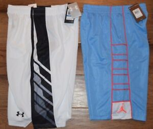 Under Armour Jordan Boys Basketball Shorts Sz XL Youth White Blue NWT MSRP $70