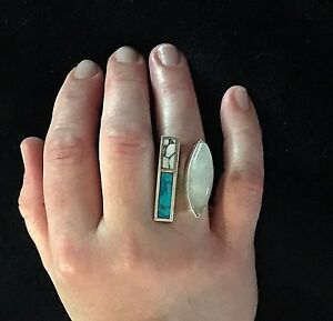 Solid Sterling & Moonstone Block Turquoise Split Ring Size 9.5 Adjust by Nete