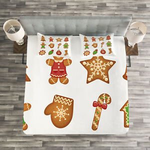 Gingerbread Man Quilted Bedspread & Pillow Shams Set Various Cookies Print