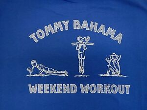 Tommy Bahama Size Large Blue Tshirt Weekend Workout New Mens Shirt