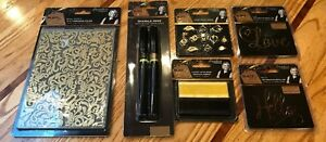 Black & Gold Signature Collection Lot  Dies Charms Folder Ribbon Pens  CC