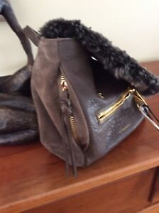 VIA REPUBBLICA Alpaca Lamb Suede Soft Leather Choc Brown Backpack wDustbag