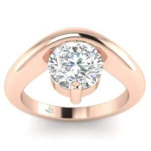 Rose Gold Unusual Floating Designer Round Diamond Engagement Ring - 1.25 ct DSI