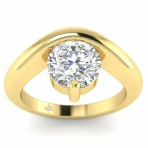Yellow Gold Unusual Floating Designer Round Diamond Engagement Ring - 1.25 ct D