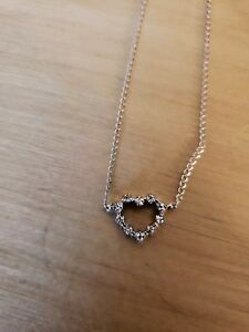 14k White Gold Necklace with Diamond Heart Drop