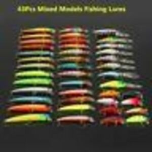 43Pcs Mixed Spinners Fishing Lures Pike Salmon Crank Baits Bass Trout Plastic