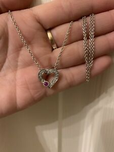 Costco 14k White Gold  Diamonds Ruby Heart necklace - 4.2 Grams