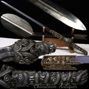Tai-Yi Flying Dragon Sword Multiple-refined Feather Grain Steel Blade Sharp#2973
