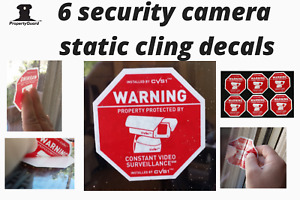 6 Security Camera CCTV Surveillance Warning Home Security Decals STATIC CLING