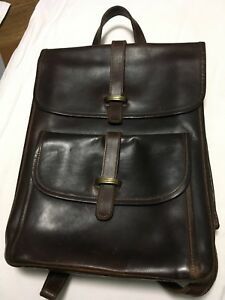 HANDMADE THICK LEATHER BACKPACK DARK BROWN STURDY