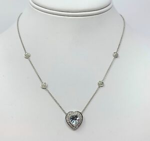 14k White Gold Heart Cut Aquamarine and Diamond Necklace EFJ 16 Inches