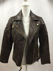 Rare Michael Kors Women's Butter Soft Genuine Leather Fitted Moto Biker Jacket