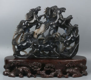 Very Exquisite Chinese Hand-carved eight horses Natural Agate Statue