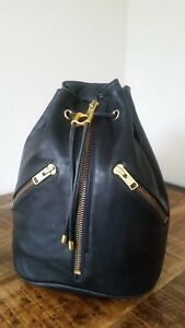 Women's Vtg Black Leather HIGH FASHION Single Strap Drawstring Backpack Rucksack