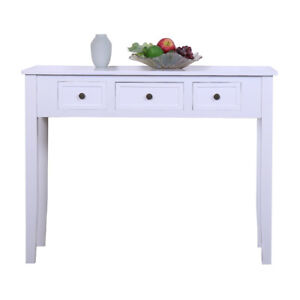 3 Drawers Writing Desk Study Desk Wood Console Computer Table Modern Decor White