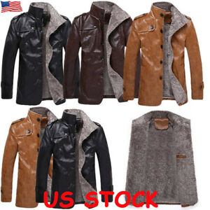 Mens Coat Parka Leather Fur Lined Stand Collar Jacket Winter Retro Warm Biker US