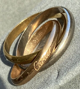 Cartier Trinity 18K 3-Color Gold Mens Eternity Wedding Band + Papers EU 65 US 11