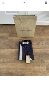Burberry Button Down Navy Blue  Long Sleeve Men's  Shirt Slim Fit Size Large