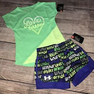 Under Armour Size 5 Love To Win Girls Green Black Purple Shorts Shirt Outfit NEW
