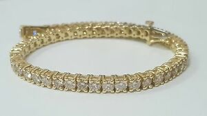 5ct ROUND CUT DIAMOND TENNIS BRACELET 14K YELLOW GOLD H SI2 CERTIFIED