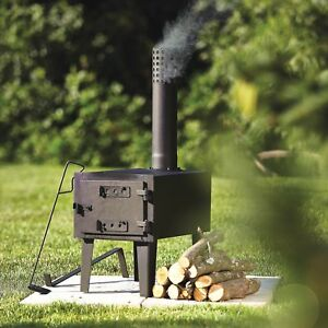 Outdoor Wood-Burning Steel Stove Fireplace Burner Heater Camping w/ Chimenea