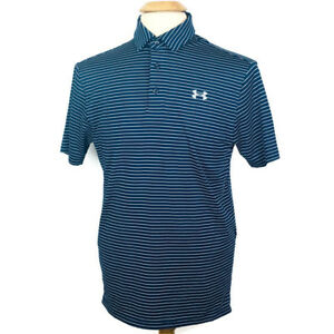 UNDER ARMOUR LOOSE POLO Shirt Dry Fit Navy Stripes Short Sleeves Mens Sz S