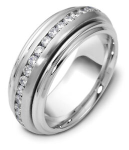 14K White Gold Rolling 8MM Wedding Band 78 cttw sz 4-14