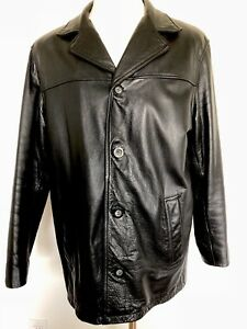 Guess Mens Black Genuine Leather Full Zip Jacket Sz Medium Motorcycle Vintage 90