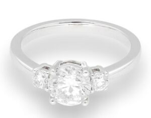 18Carat White Gold 1.25TCW Diamond Solitaire w Accents Ring (Size M) 6mm Head