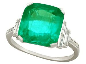 Antique 5.00 Ct Colombian Emerald and 0.46 Ct Diamond Platinum Dress Ring