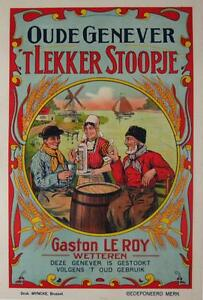 Oude Genever Original Vintage Belgium 1905 Stone Lithograph Advertising Poster