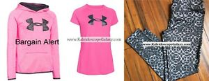 GIRLS SMALL UNDER ARMOUR ~ 3pc ~HOODIE SWEATSHIRT ~ LEGGINGS NEW ~ pink black