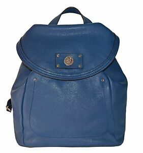 New Marc Jacobs 5120 Deep Blue Genuine Italian Leather Backpack Bag Purse
