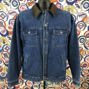 Vintage Pendleton Mens Large Jean Denim Jacket Wool Lining Leather Collar