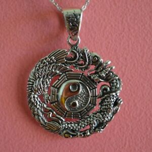 925 Sterling Silver Round Chinese Dragon Yin-Yang Pendant Necklace *NEW*