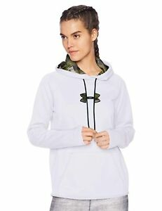 NWT Under Armour Women's Icon Caliber Hoodie White & Forest Camo 1286058 100 XXL