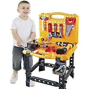 Kids Construction Tools Toy Power Workbench For Boys 120 Pieces Toddlers Bench